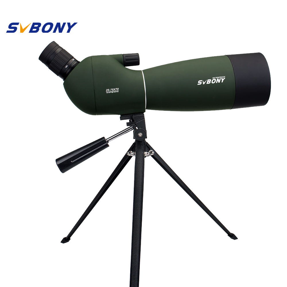 SVBONY SV28 Spotting Scope 25-75x70mm Telescoop Zoom Waterproof Angled Monocular w / Tripod Soft Case Birdwatch F9308B