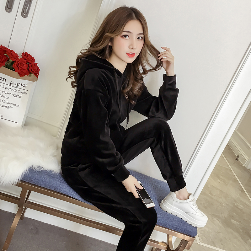 Velvet Tracksuit Two Piece Set Women Sexy Hooded Grey Long Sleeve Top And Pants Bodysuit Suit Runway Fashion 18 Black D79101 7