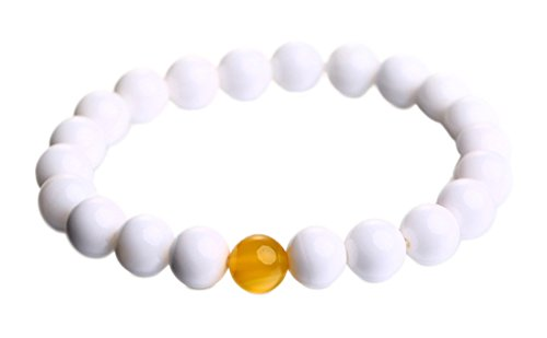 8mm High Quality Nature Pure White Tridacna and Yellow Agate Jade Bracelets Round Beads Giant Clam Bangles Jade Jewellery