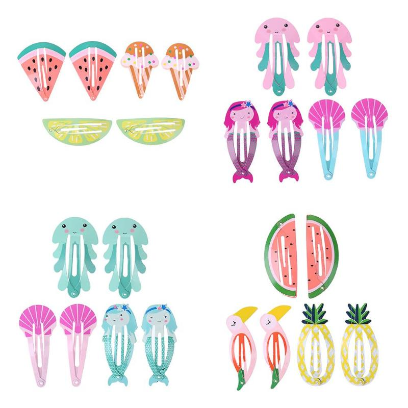 6pcs/Set Baby Headdress Set Girl Headband Baby Supplies Fruit PineappleHairpin Hair Accessories Hair Rope Headwear Hair Clip 1pc fruit slice multi patterns hair accessories girl women elastic rubber bands hair clips headwear tie gum holder rope hairpins