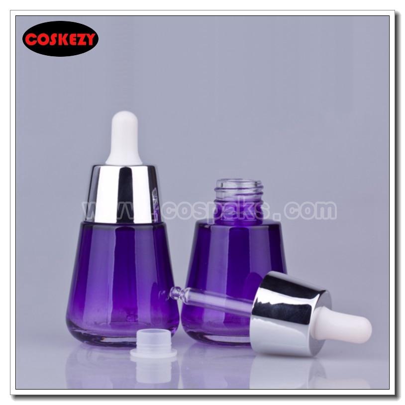 50шт 30мл пурпуровых бутэлькі шкляныя масла, раскошныя 1 унцыя кропельніцы шкляныя бутэлькі, 30 ML сярэбраныя касметыкі ўпакоўка для продажу