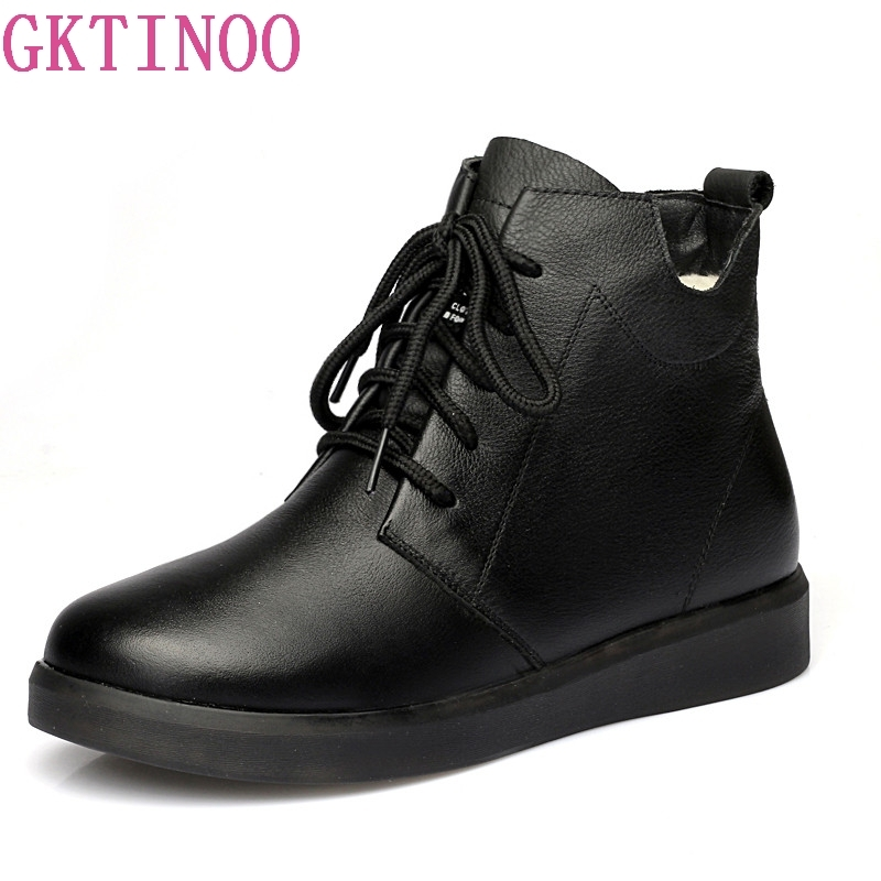 GKTINOO Women's Boots Genuine Leather Ankle Boot Wool Warm Winter Boot Martin Boots For Women Flat Fashion Lace up Ladies Shoes 2018 new autunm winter ankle short women boots flat heel lace up single martin boots shoes push warm flat shoes ladies zk 3 5