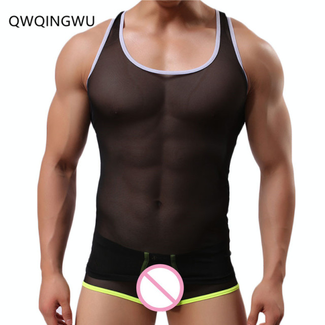 d7e228fde1c72 Sexy Man Undershirts Male Men Mesh Bodysuit Basic T Shirts Gay Nylon  Transparent See Through Tops Underwear Undershirts Vest
