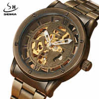 SHENHUA Top Brand Retro Bronze Mens Automatic Hollow Mechanical Watches Unique Steel Band Steampunk Luxury Wristwatches Gifts