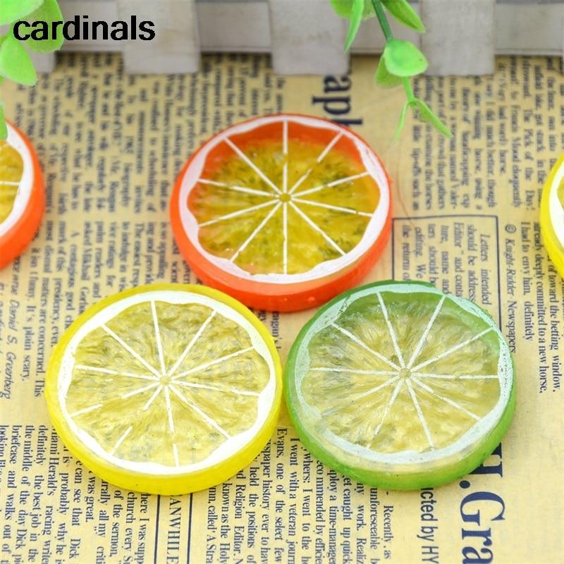 3PCS Mini Artificial Fruit Simulation Lemon Slices 3 Colors Resin Fake Artificial Fruit Model Party Kitchen Wedding Decoration