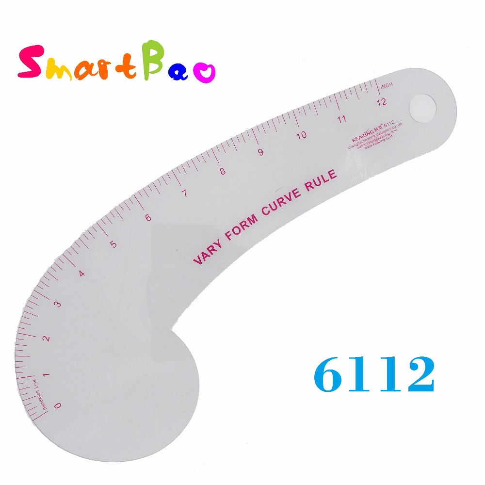 12 Inch Plastic Transparent Garment Vary Form Curve Ruler, With 12'' Length French Curve Ruler For Sewing Market;  # 6112