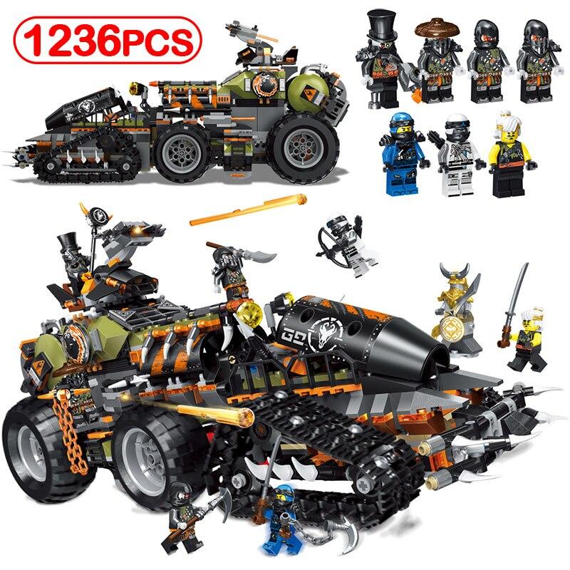 1236pcs Ninjago Heavy Hunted Dragon Truck Figures Legoinglys 70654 Dieselnaut Building Blocks Bricks For Children Hobbies Toys