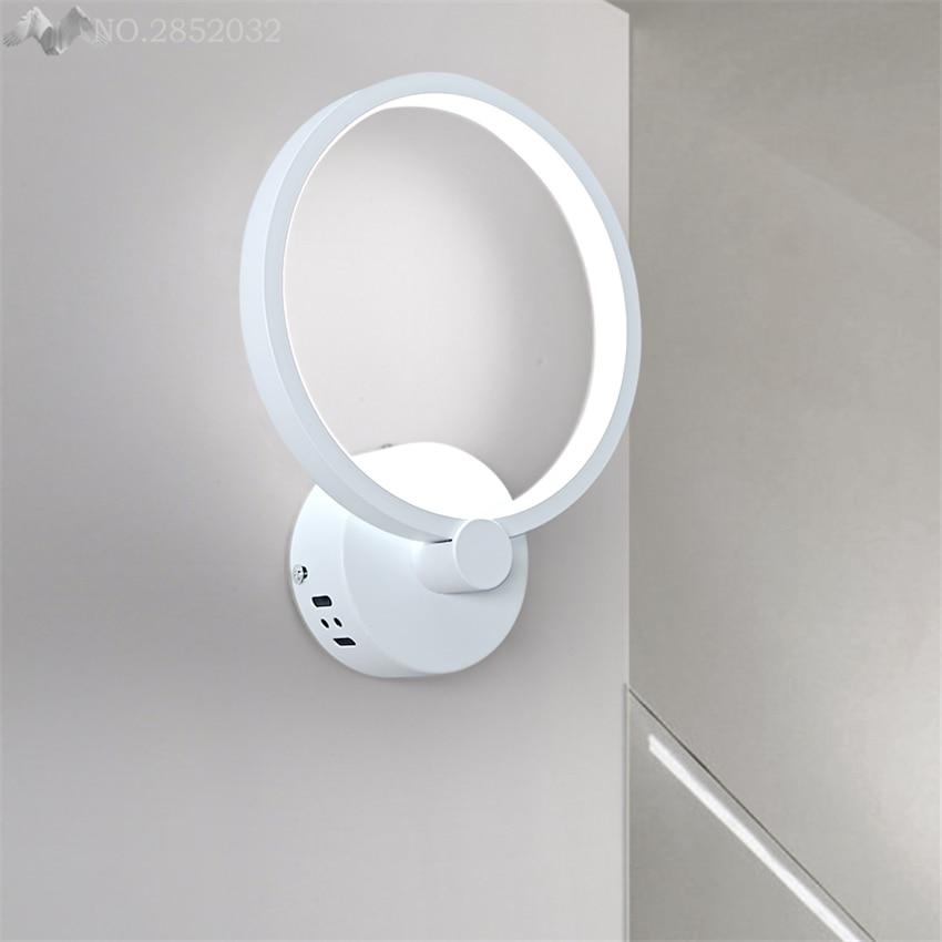 Современные Простые Акриловые Настенные светильники круглые светодиодные светильники для спальни прикроватные для лестниц и коридоров украшения для внутреннего освещения - 6