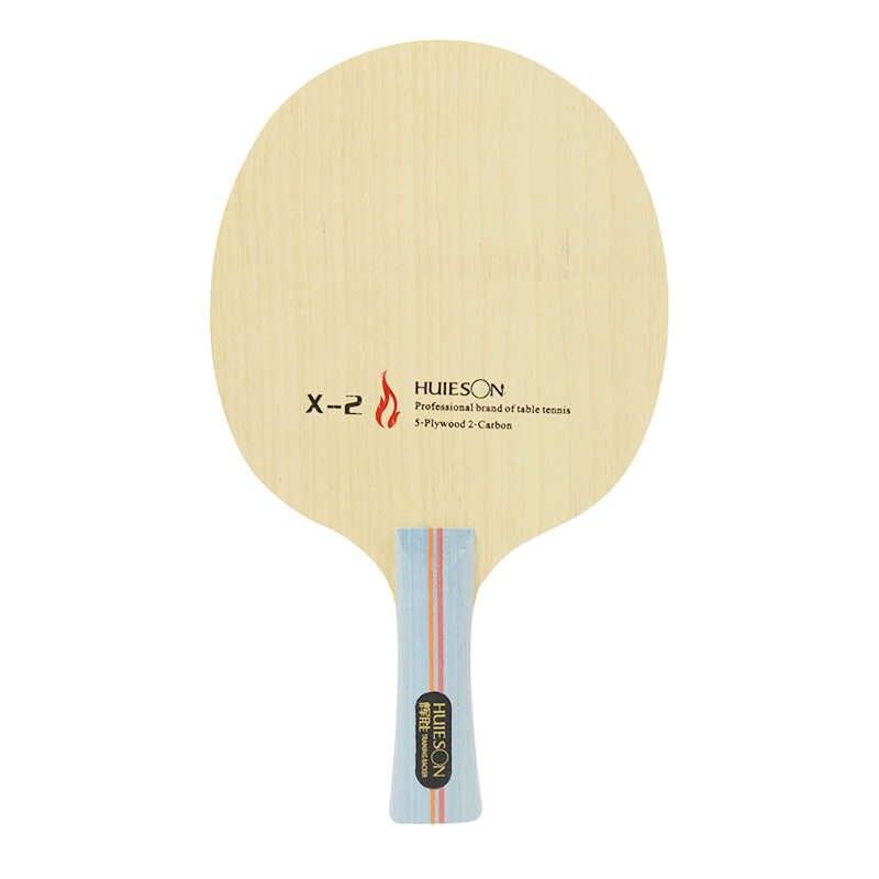 Huieson 7 Ply Ayous Hybrid Karbon Tenis Meja Racket Pisau dengan Pusat Besar Kayu untuk Serangan Cepat Loopkilling Pelatihan X2