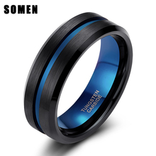Somen Ring Men 8mm Black Tungsten Blue Line With Inner Classic Engagement Wedding Fashion Jewelry Bague Homme