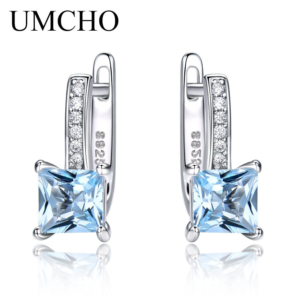 UMCHO Sky Blue Topaz Gemstone Clip Earrings For Women Solid 925 Sterling Silver Fashion Wholesale Jewelry Wedding Gift