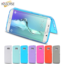 KISSCASE Soft TPU Flip Case For Samsung Galaxy S7 Edge S6 S7 Fashion Flip Silicone Clear Case  Full Body Transparent Cover case