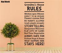 Mad העולם-סבתא ציטוט חוקי הבית מדבקות מדבקות קיר אמנות קיר מדבקות בית DIY קישוט מדבקות קיר נשלף חדר דקור