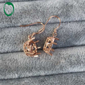 10K/Au417 Rose Gold 10mm Round Cut Classic Ball Gold Semi Mount Earrings Caimao Jewelry