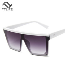 TTLIFE Oversized Sunglasses Women Big Frame Square Flat Top Rivet Sun Glasses Female Men Vintage Mirror Shades Gradient YJHH0148