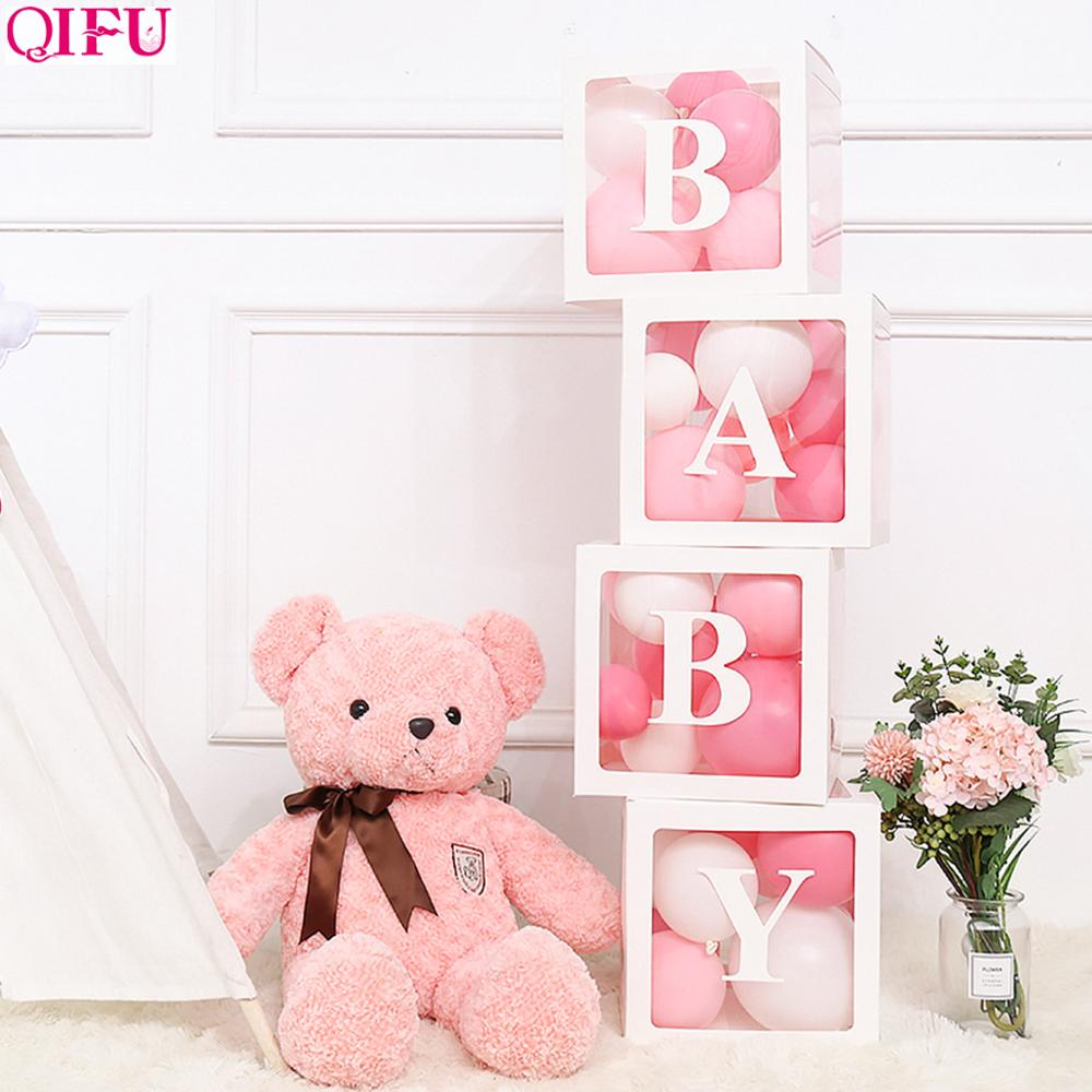 QIFU Transparent Box Wedding Decor Baby Shower Boy Girl Wedding Event Party Supplies Christening Birthday Party Decor Babyshower in Party DIY Decorations from Home Garden