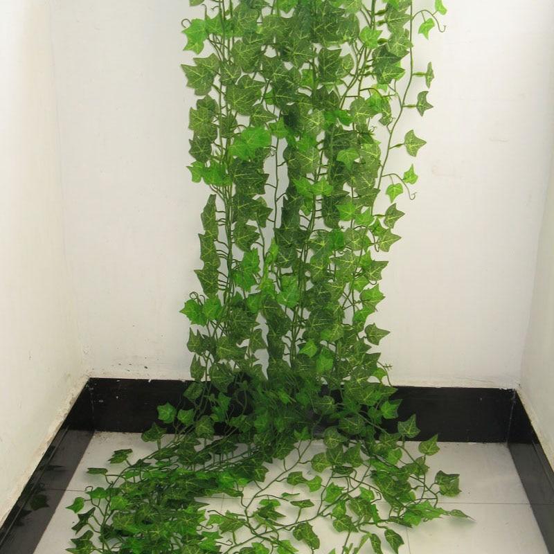 4fd884cdeb1e5 Guirnalda de hojas verdes de hiedra Artificial de 2,4 M plantas de vid  flores de follaje falso decoración del hogar flor Artificial de plástico  cuerda de ...
