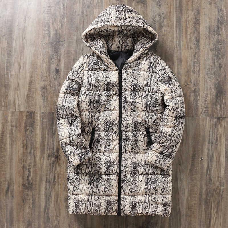 Leopar yılan desen sonbahar kadın kışlık ceketler mont 2019 rahat seksi Parkas kadın ceketler sıcak dış giyim ceket Parka kadın