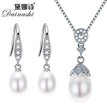 Фотография Dainashi Pearl Jewelry Sets 925 Silver Freshwater Pearl Pendant Necklace With Earrings Whole Set Fine Jewelry 4 Colors Best Gift