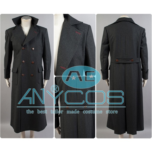 Sherlock Holmes Long Cape Costume Men Winter Wool Coat Cosplay Costume Warm Windbreaker Free Shipping