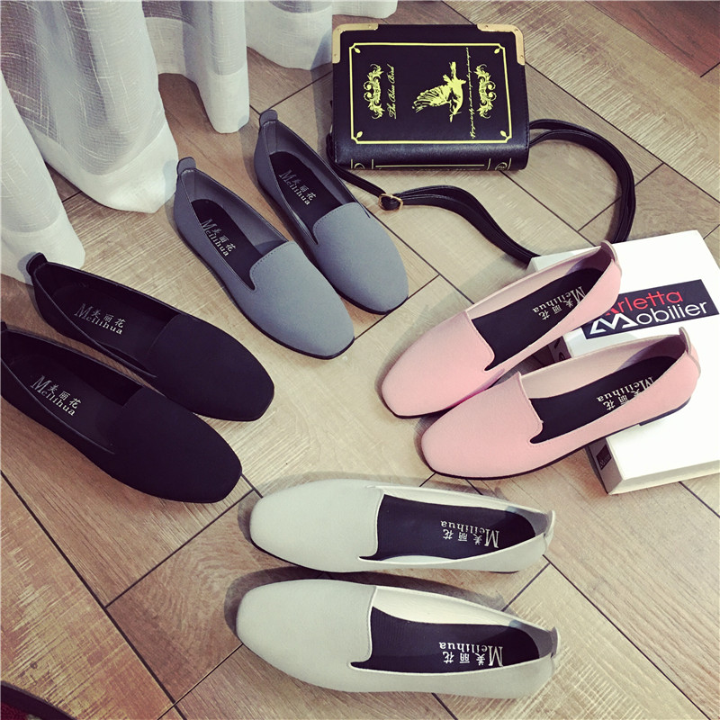 Free Shipping 2016 New Fashion Square Head Comfortable Flat Shoes Shallow Mouth Suede Casual Shoes A
