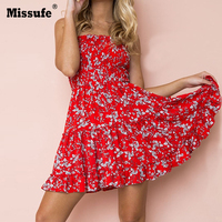 Missufe Sexy Red Floral Printed Boho Women Dresses A Line Strapless Ruffles Boho Female Tunic 2018