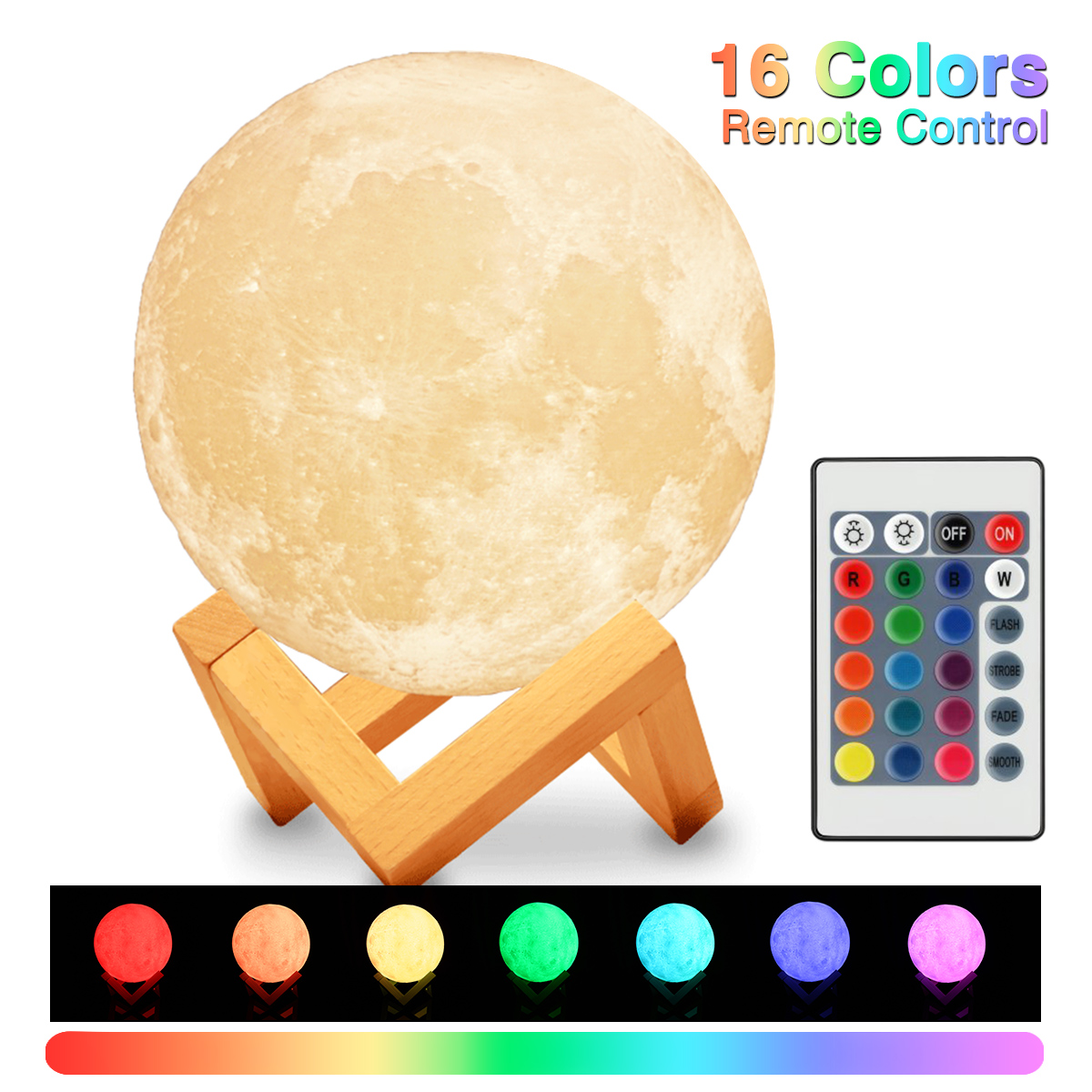 3D Print Moon Lamp Rechargeable 16 Colors Change Touch Switch Lunar Light 15cm Dimmable Baby Bedroom Night Light Home Decor magnetic floating levitation 3d print moon lamp led night light 2 color auto change moon light home decor creative birthday gift