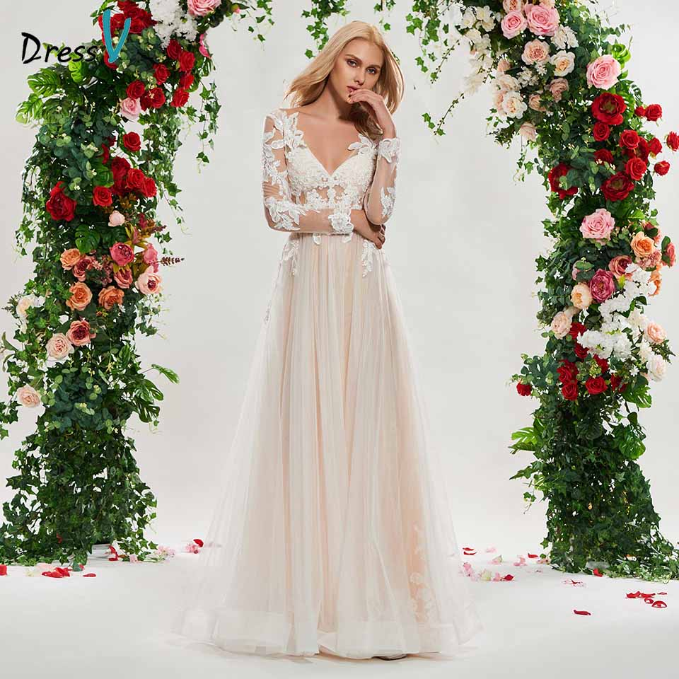 Dressv v neck wedding dress a line long sleeves lace zipper up tulle floor length bridal outdoor&church wedding dresses