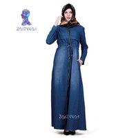 ZK013 Fashion Denim Kaftan Abaya Dubai Islam Muslim Dress Abayas For Women Caftan Robe Turkish Islamic Clothing