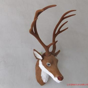 big simulation deer head toy polyethylene & furs deer head model gift about 75x25x33cm 204