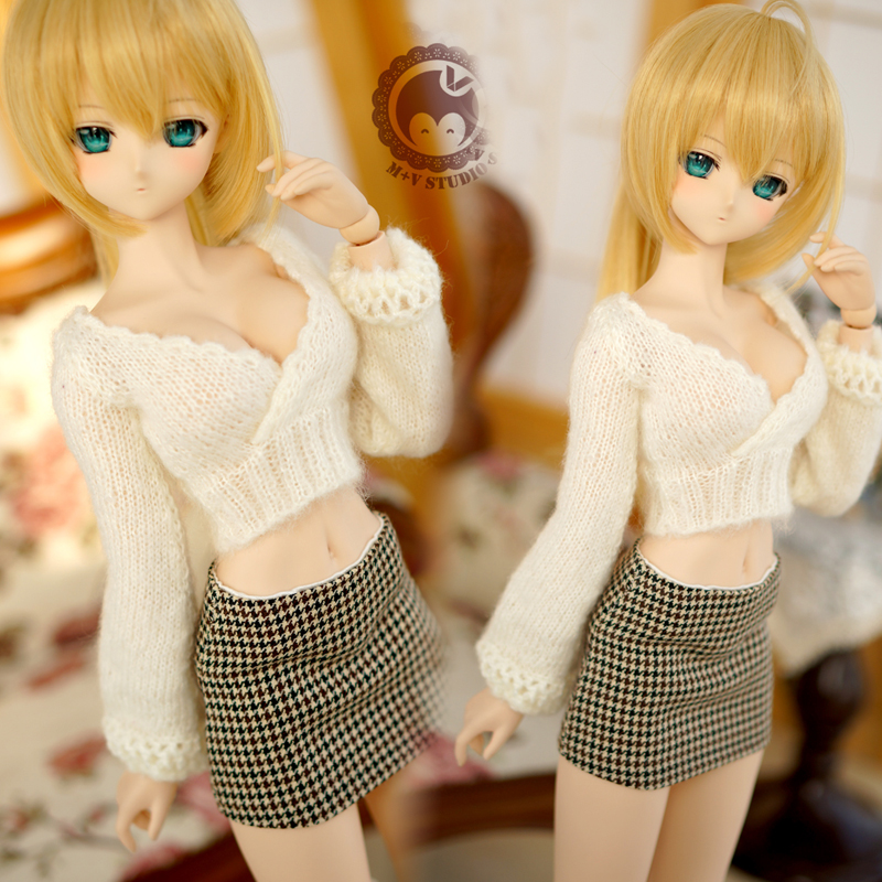 [Agent]NEW White Sexy Sweater Suit 1/3 DD SD SD16 BJD Doll Clothes free match stockings for bjd 1 6 1 4 1 3 sd16 dd sd luts dz as dod doll clothes accessories sk1