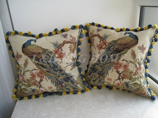 Free Shipping a pair 10K 16X16 Handmade Woolen Needlepoint pillow cushion, hand knotted woolen pillow, no insertion