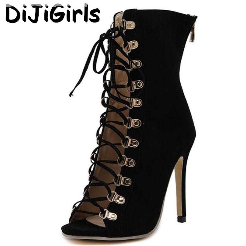 DiJiGirls Gladiator Moda Me takë të lartë Vajza Sandale Genova Stiletto sandale Booties Open Toe Leps Up Pumps Shoes Boots Woman