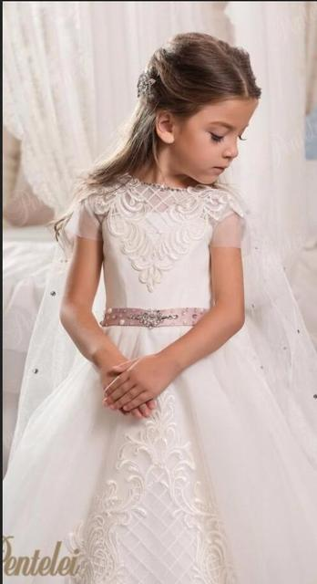 a18f6bba59a Luxurious Lace Arabic 2017 Flower Girl Dresses Crystals With A Cloak Child  Dresses Beautiful Flower Girl