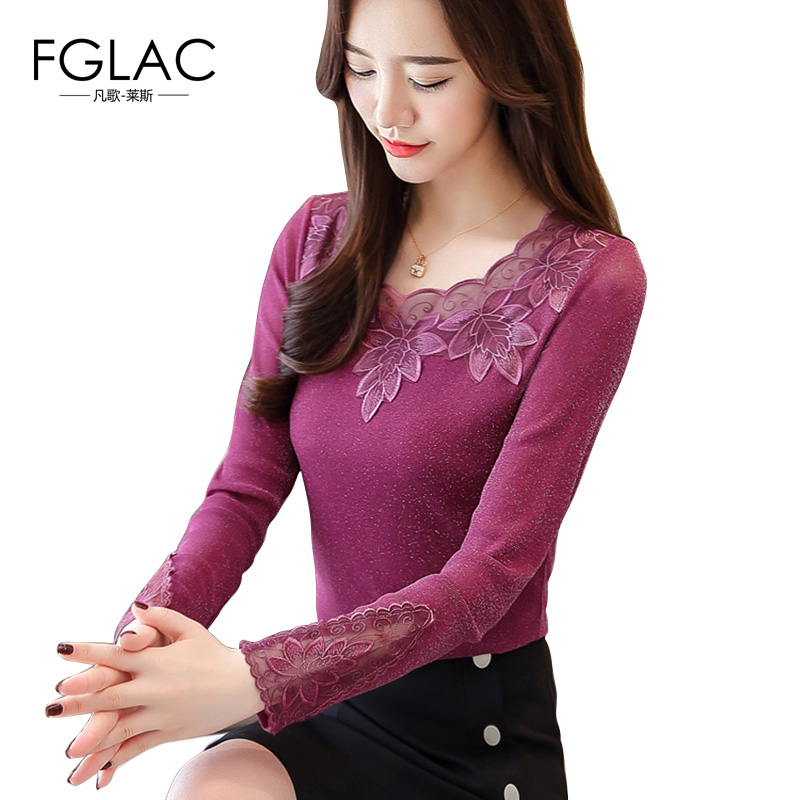 FGLAC Women blouse shirt New Arrivals 2018 Autumn long sleeve Mesh tops Elegant Slim hollow out lace shirt plus size blusas(China)