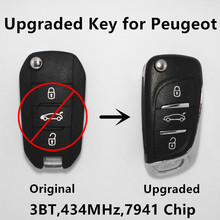 Upgraded Remote Key for PEUGEOT 208 2008 308 3008 408 508 5008 3 Buttons Car Entry Control HELLA 434Mhz 7941 Chip