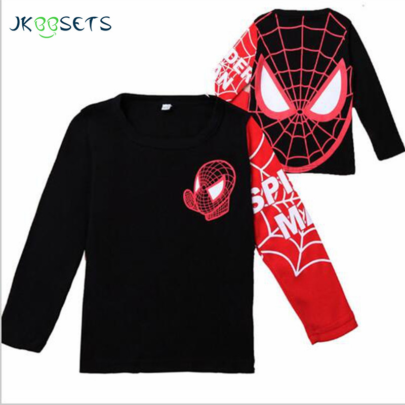 JKBBSETS Hot sale Kids Boys Baby Girls Spiderman Hero T-shirt long Sleeve kids Tops cotton childrens Clothes