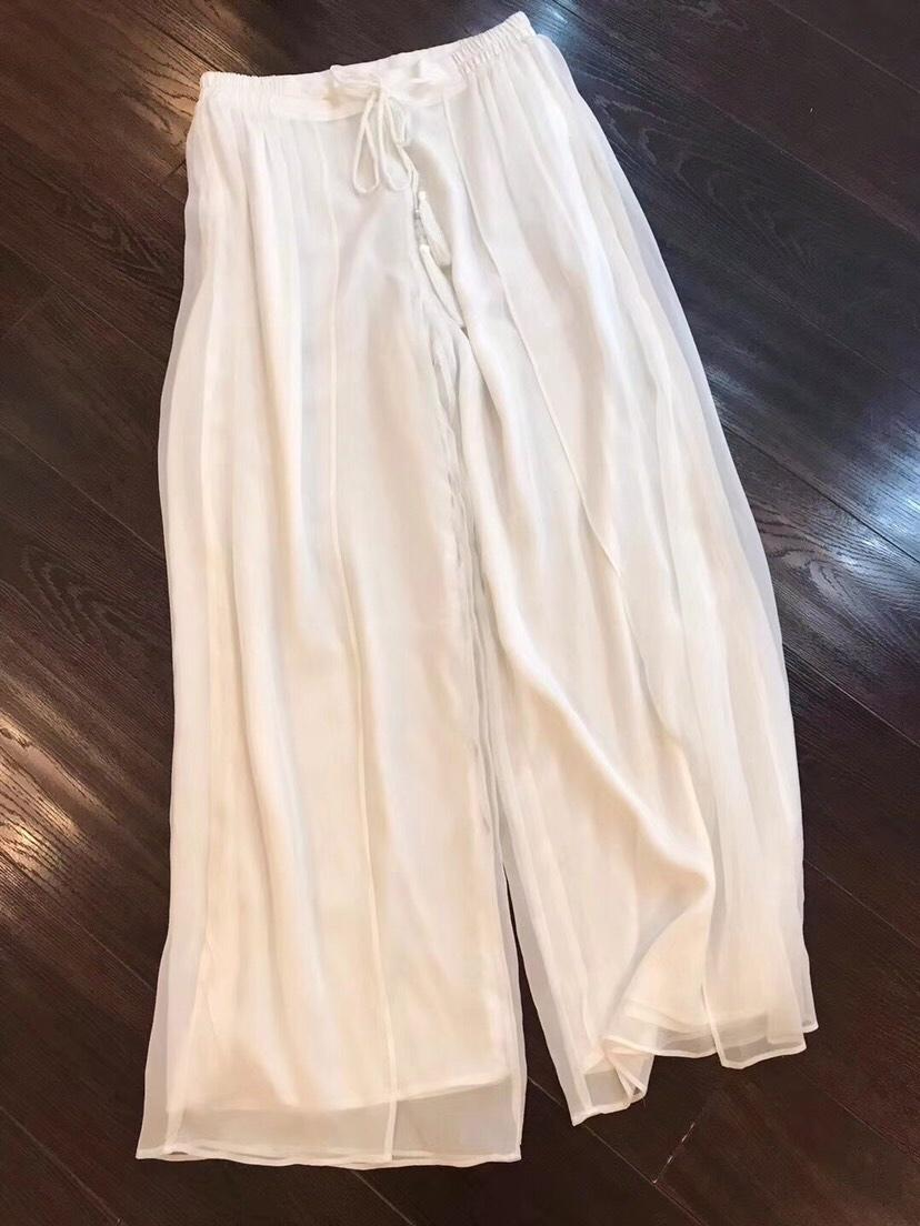 2019 spring and summer double layer irregular wide leg trousers elastic waist 0318