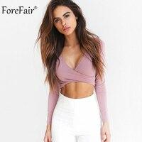 ForeFair 2017 Trend Cross V Neck Sexy Crop Top Women Slim T Shirt Black White Purple