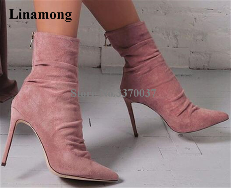 Women Elegant Pointed Toe Suede Leather Pink Blue Black Thin Heel Short Bandage Boots Back Zipper-up High Heel Ankle Booties hot selling women charming flock back gold metallic 3d butterfly embellished short boots pointed toe suede leather ankle booties