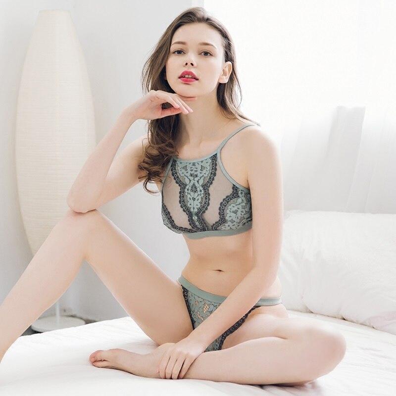 Full lace sous-vêtements femmes ensemble sexy ultra-mince broderie intime lingerie confort sous-vêtements ensemble transparent femmes dentelle soutien-gorge ensemble