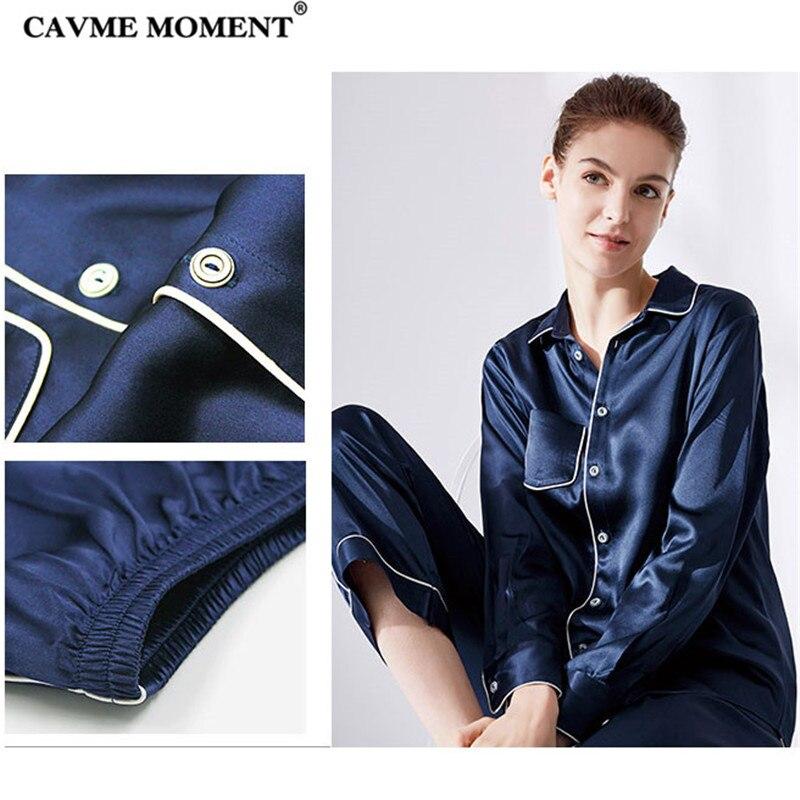 CAVME Summer Luxury Silk Pajama Sets Turn down Collar Long Sleeve Pants Solid Color Navy Pink Elegant Homewear 2 Piece in Pajama Sets from Underwear Sleepwears
