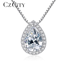CZCITY Brand Luxury Cubic Zirconia Women Chain Silver Pendant Necklace for Women Classic CZ Water Drop Type Statement Necklace