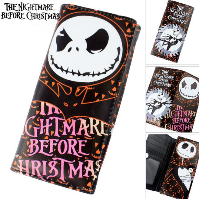 1pcsset cool 18cm nightmare before christmas jack toy wallets purse zipper wallet long christmas gifts