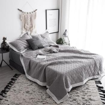 Bedspread Queen size Bed spread set 100%Cotton Quilted Solid color Gray White Bed set Bed Cover Suitable for Adults cubrecama