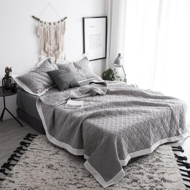 Bedspread Queen Size Bed Spread Set 100 Cotton Quilted Solid Color Gray White Bed Set Bed Cover Suitable For Adults Cubrecama In Bedspread From Home
