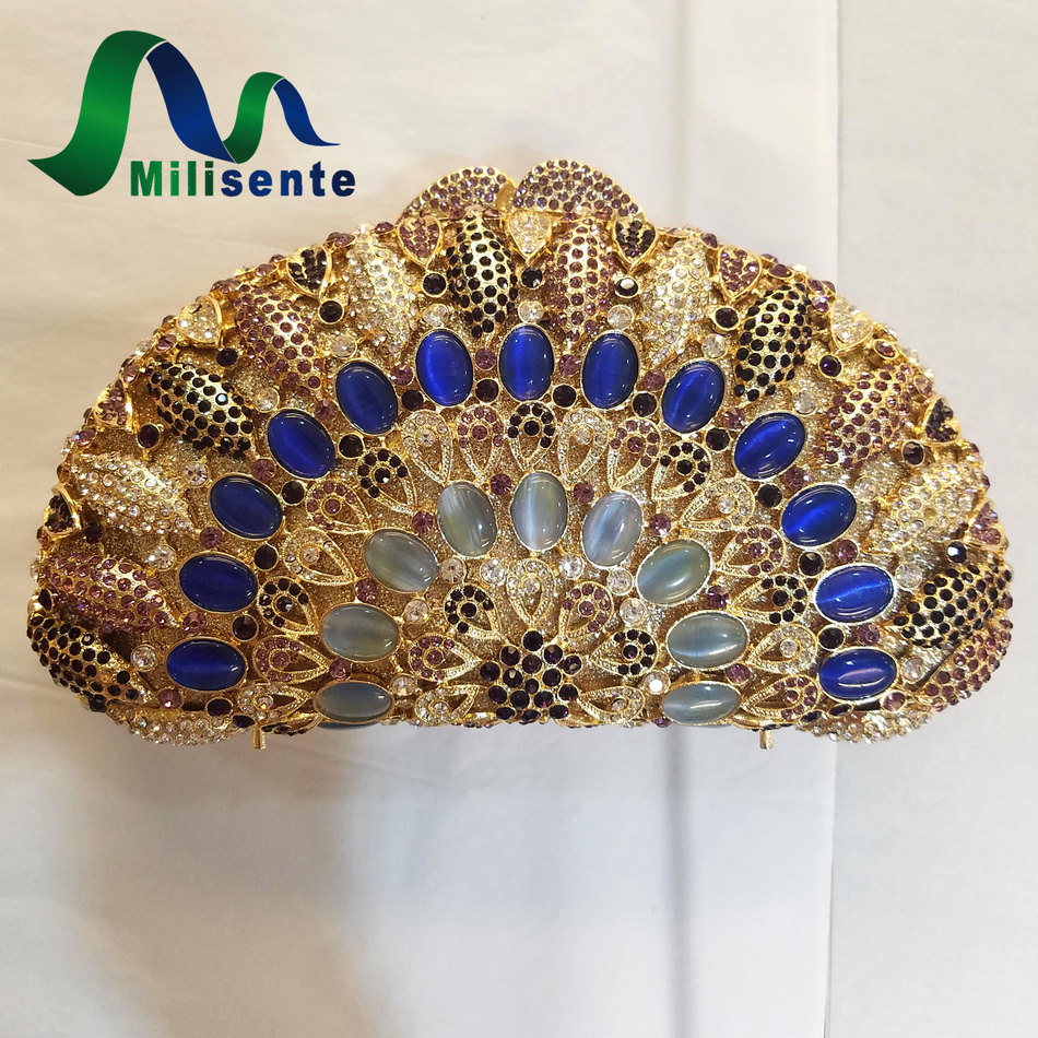 ФОТО Milisente Shell Shape Crystal Clutch Designer Diamond Bag Luxury Handbag Women Clutches Gold Wedding Bags With Chain Party Purse