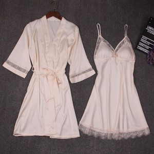 Image 4 - 가을 여성 잠옷 세트 2 조각 nightdress 목욕 가운 가슴 패드 여성 새틴 기모노 목욕 가운 잠옷 핑크 가운 정장