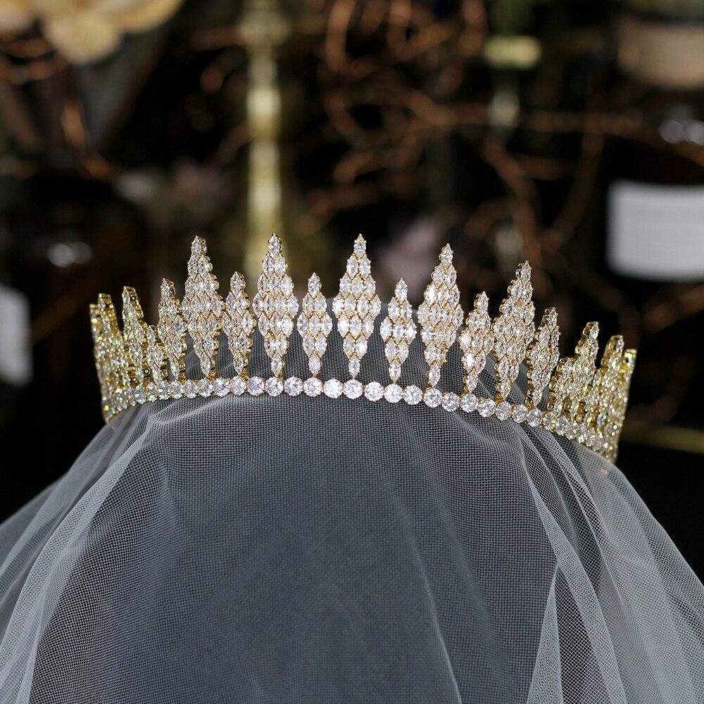 moda princesa Tiaras corona incrustaciones Rhinestone boda accesorios para el cabello oro Color corona joyeriamoda princesa Tiaras corona incrustaciones Rhinestone boda accesorios para el cabello oro Color corona joyeria