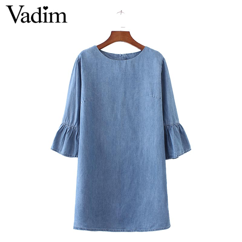 women sweet flare sleeve denim dress O neck half sleeve fashion straight solid ladies brand casual dresses vestidos QZ2872